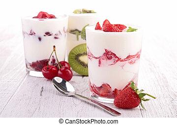 yoghurt and fruits