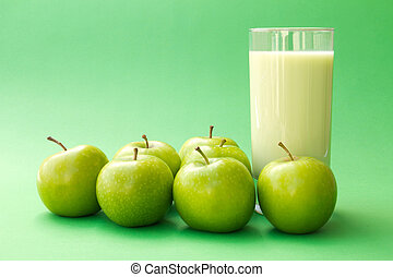 yoghurt, dricka, grönt äpple