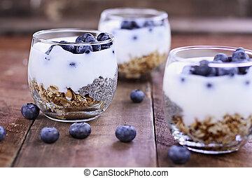 yoghurt, kefir, chia, smakelijk, parfait