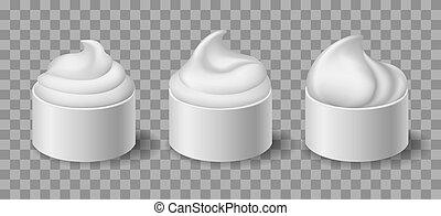 yoghurt, kommen, room, witte