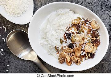 Yoghurt Muesli or Yogurt Granola with Coconut