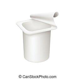 yoghurt, witte , container, vrijstaand, achtergrond