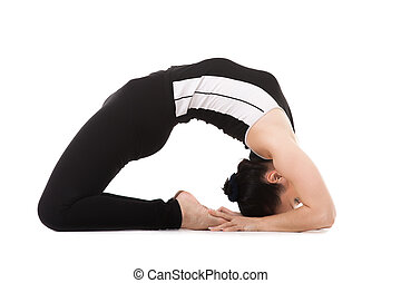 Yogi female in yoga Pigeon Pose