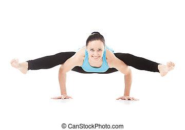 yogi female doing half wheel pose sporty beautiful young