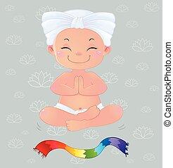 Yogi in meditation sitting in lotus