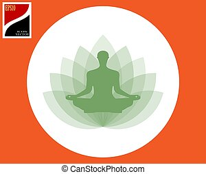yogi in the lotus position of green in the circle