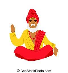 Yogi man in yoga lotus pose, wearing traditional Indian clothes.