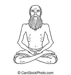 Yogi meditation coloring book vector illustration. Isolated...