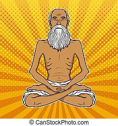 Yogi meditation pop art vector illustration - Yogi...