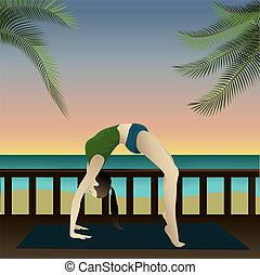 Yogi on beach (Upward Bow) - Young girl practicing yoga on...