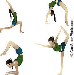 Yogi on white - Young girl practicing yoga 4 positions