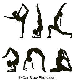 Yogi positions silhouettes on white