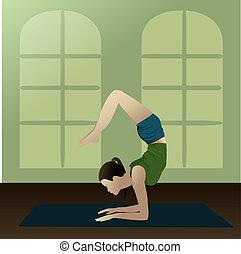 Yogi scorpion - Young girl practicing yoga in room, Scorpion...