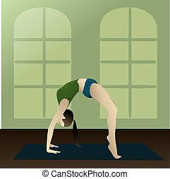 Yogi (Upward Bow) - Young girl practicing yoga in room