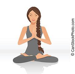 yogi woman - illustration of a beautiful woman sitting in...