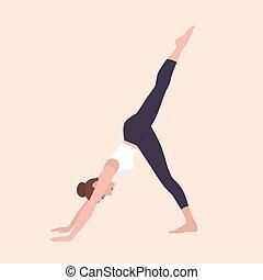 Yogi woman in Eka Pada Adho Mukha Svanasana or Three-Legged Dog Pose. Female cartoon character practicing Hatha yoga. Girl demonstrating exercise during gymnastics training. Flat vector illustration.