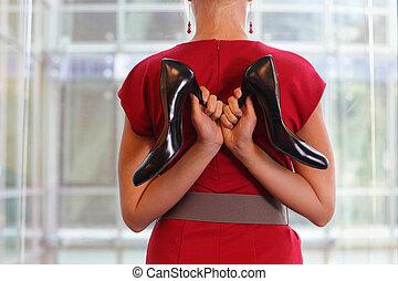 yogi woman with high heels