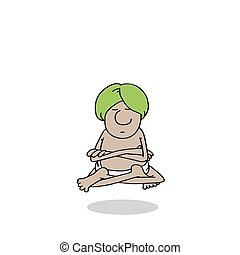 yogi - Yogi meditates, rose above the earth