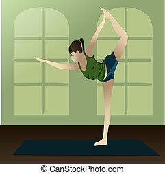 Yogi - Young girl practicing yoga in room