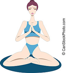 Yogini - a woman sitting on a yoga mat and focusing on...