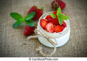 yogur, dulce, fresas, delicioso, fresco