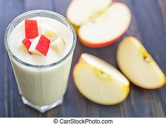 yogur, manzana, rojo