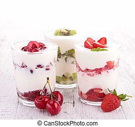 yogur, surtido, fruta