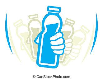 yogur, uso, antes, botella, sacudida
