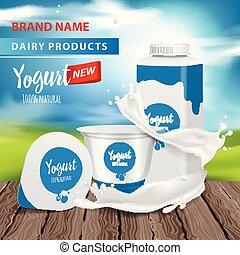 Yogurt ads, Square plastic bottle and round pot with yogurt splash , 3d vector illustration for web or magazine. Vector design