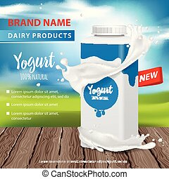 Yogurt ads, Square plastic bottle and round pot with yogurt splash , 3d vector illustration for web or magazine design