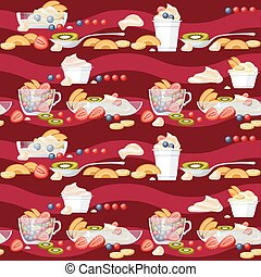 Yogurt and fruits seamless pattern. Vector background.