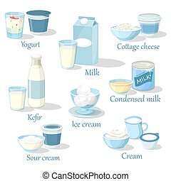 Yogurt and kefir, cottage cheese and ice cream - Fruit...