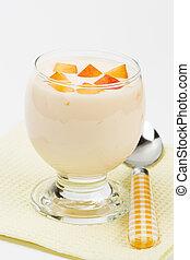 yogurt, com, pêssego