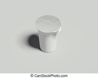 Yogurt container isolated on grey background. Blank box dessert. 3d rendering