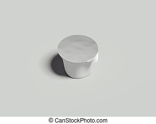 Yogurt container isolated on grey background. Blank box ice cream. 3d rendering