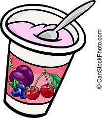yogurt, corte arte, caricatura, ilustração