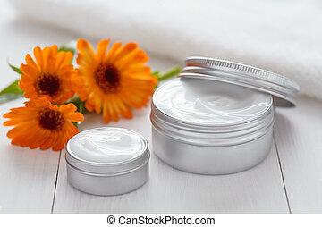 Yogurt cosmetic cream with calendula flowers vitamin spa lotion