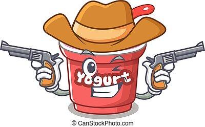 Yogurt Cowboy cartoon in concept having guns