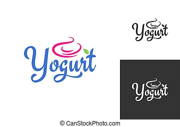 yogurt cream logo. Frozen yogurt label set background