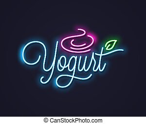 yogurt cream neon sign. Frozen yogurt neon banner on black background