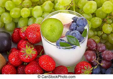 yogurt, fruta