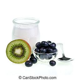 yogurt, frutas