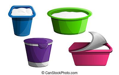 Yogurt icon set, cartoon style