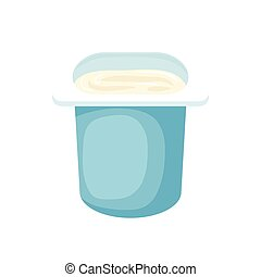 Yogurt in blue plastic cup icon in cartoon style on a white background