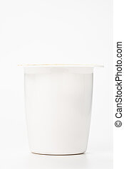 yogurt in plastic box container over white background -...