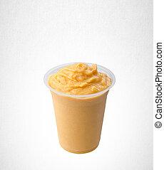 yogurt or mango yogurt on a background.