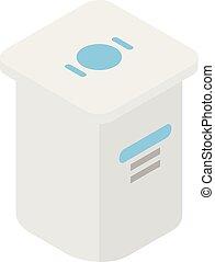 Yogurt package icon, isometric style