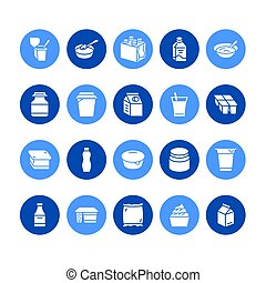 Yogurt packaging flat glyph vector icons. Dairy products -...