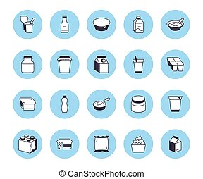 Yogurt packaging flat line icons. Dairy products - milk...