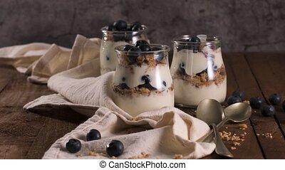 Yogurt parfait with blueberry and granola. Healthy breakfast...